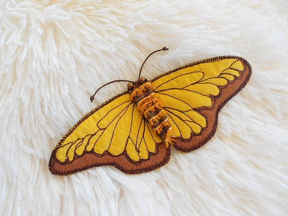 ButterflyTextile Brooch.Art Icon Pin.Cute Felt by G2store on Etsy