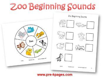 Printable Zoo Beginning Sounds Activity for pre-k and kindergarten