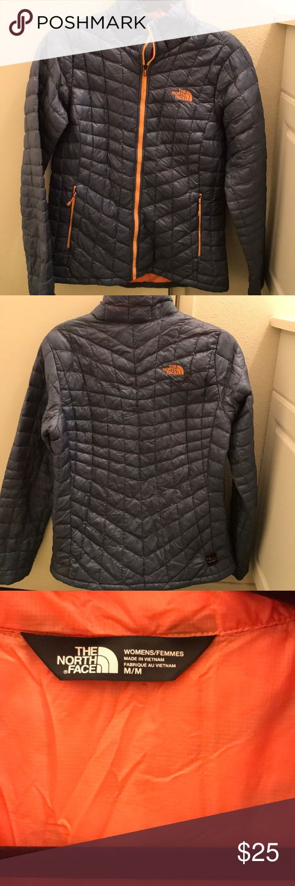 North face thermoball jacket Blue/gray jacket with orange zipper/interior. Has a small hole that can be easily patched up-picture of hole is shown. North Face Jackets & Coats Puffers