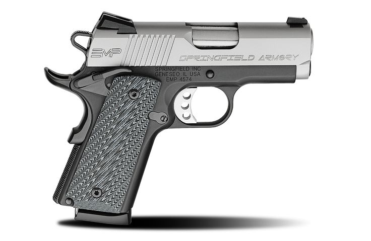 1911 EMP® 9mm caliber #pistol. Featuring a Bi-Tone Frame and Black/Grey G-10 Grip. Made by Springfield Armory® #firearm #1911 #handgun #springfieldarmory