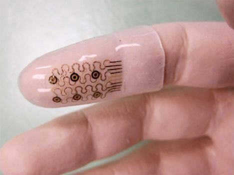 These ultra-thin electronic 'fingertips' could pave the way for new high-tech surgical gloves that enable wearers to feel pressure, texture, motion, resistance and temperature in an enhanced way. According to professor John Rogers of the University of Illinois, the fingertip could allow doctors to sense the electrical properties of tissue or even carry out extremely targeted ultrasounds.