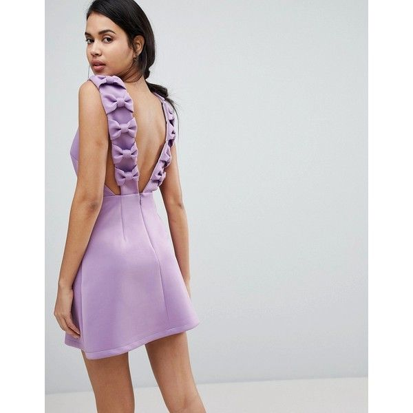 ASOS Bow Strap Back A Line Mini Dress ($69) ❤ liked on Polyvore featuring dresses, purple, sleeveless dress, purple cocktail dresses, sleeveless a line dress, sleeveless short dress and a-line dresses