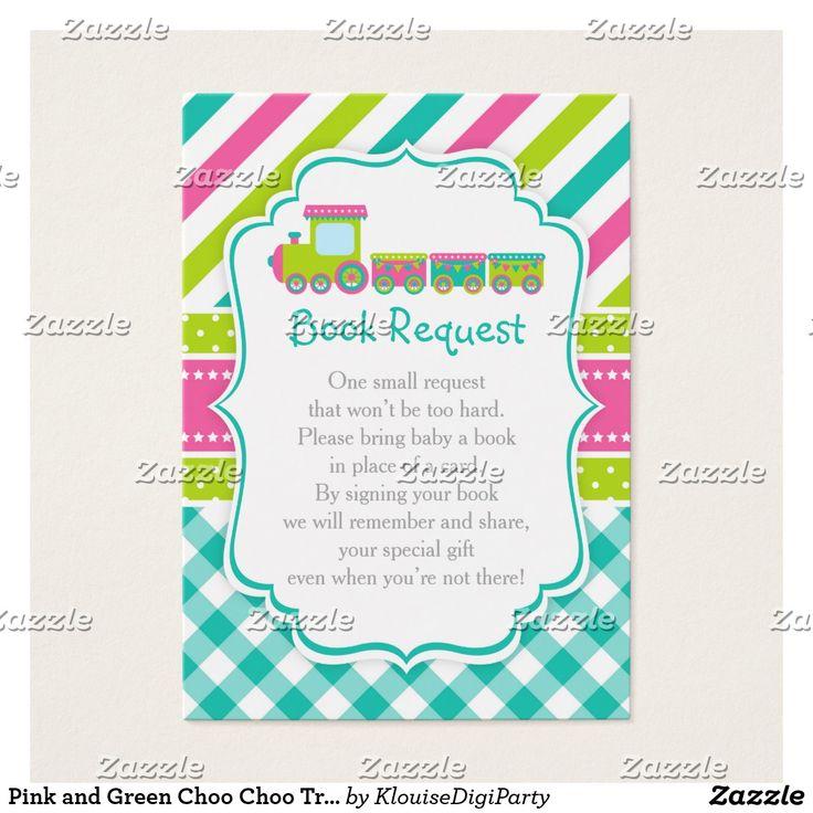 Pink and Green Choo Choo Train Book Request Business Card