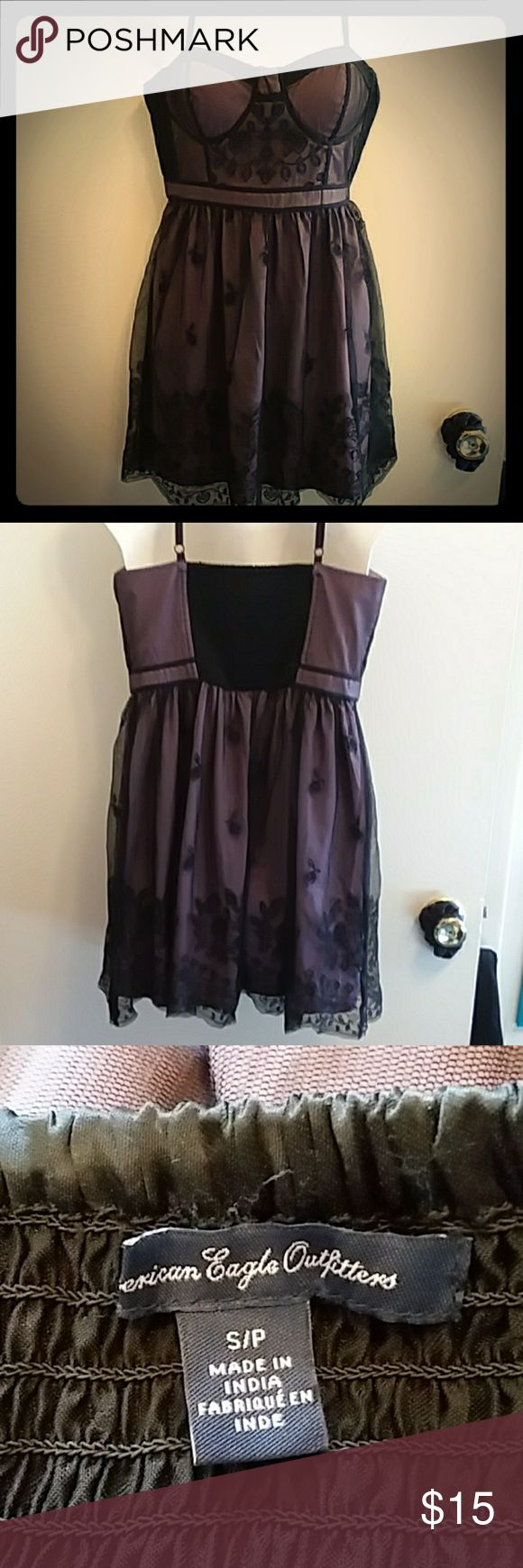 Black and Purple Dress American Eagle Outfitters black and Purple dress. Has purple under the black lace later. Size s/p. Has stretchy part on back. American Eagle Outfitters Dresses #americaneagleoutfitters