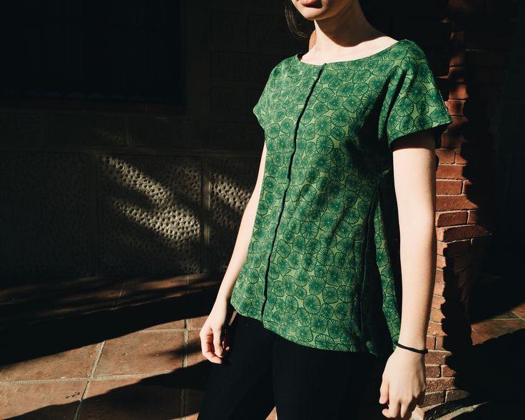 Top de manga corta estampado de algodón. #verde #mujer #moda #verano