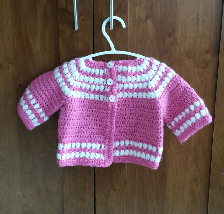 Pink & White Easter Sweater, 12 Month Size Spring Sweater, Pink and White Bubble Sweater by FamilyCrochetCabinet on Etsy