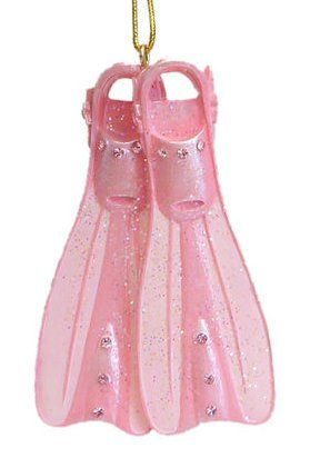 December Diamonds Pink Scuba Fins Ornament Embellished with Rhinestones!!!