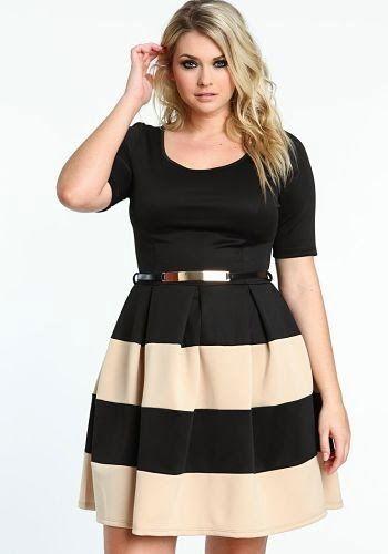 Blusa negra con falda negra y beige a rayas para gorditas 2015