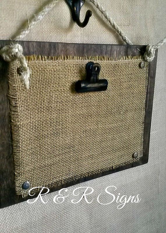 Wood & Burlap Clipboard Photo Holder by RandRSigns on Etsy