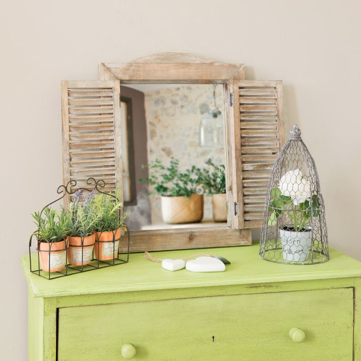 Rustic natural window mirror