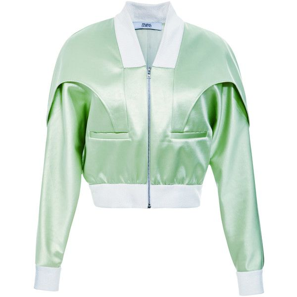 Prabal Gurung Bonded Satin Bomber Jacket (£2,030) ❤ liked on Polyvore featuring outerwear, jackets, green bomber jacket, green slip, green flight jacket, satin jacket and green jacket