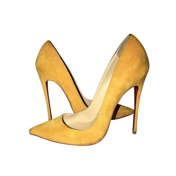 Christian Louboutin So Kate Mustard Pumps ($25) ❤ liked on Polyvore featuring shoes, pumps, christian louboutin shoes, christian louboutin, mustard yellow shoes, mustard shoes and mustard yellow pumps