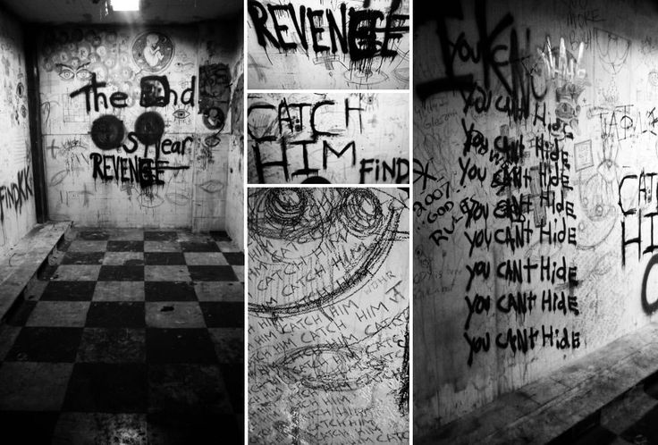 All kinds of crazy graffiti at abandoned Linda Vista Hospital...does this say please put your grandma in this room