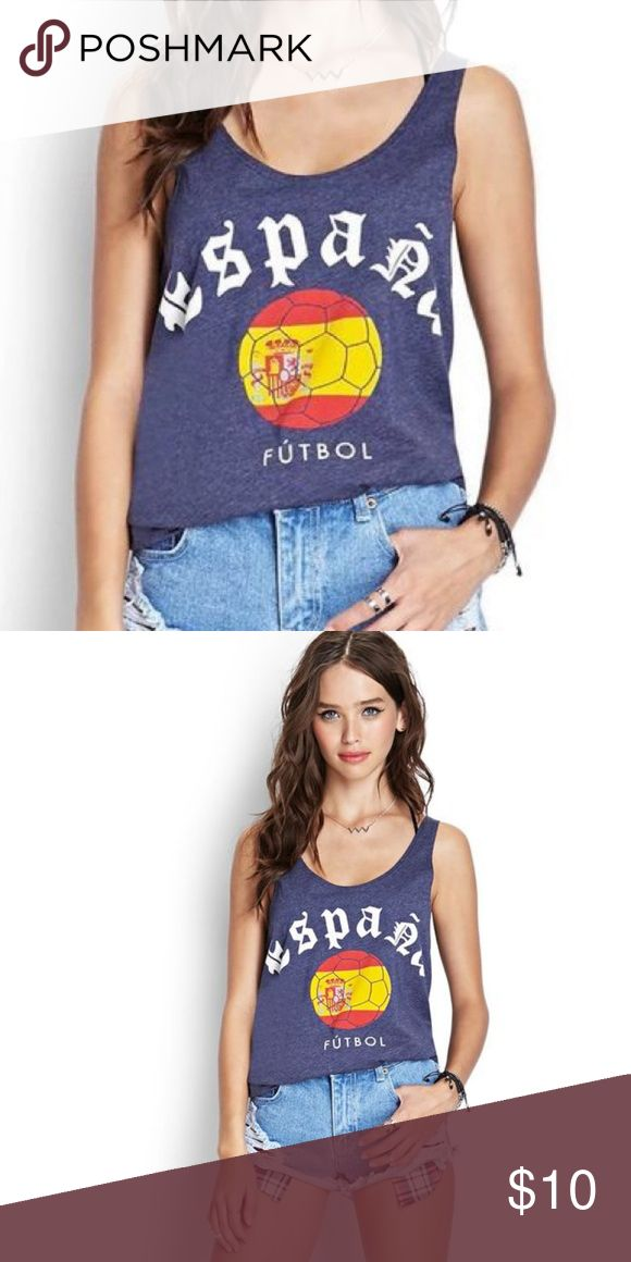Forever 21 Espana Futbol Tank Top Only worn a few times.  Forever 21 Espana Futbol tank top! Perfect for day wear, workout, and sleepwear.   Cotton, super comfy and soft!! Forever 21 Tops Tank Tops