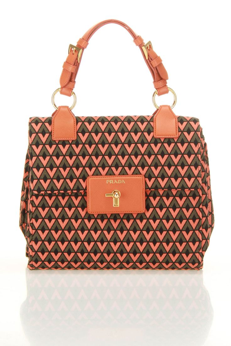 Prada Tessuto Jacquar Handbag In Orange Diamond