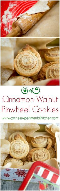 Cinnamon Walnut Pinwheel Cookies  #cookies #holidaybaking #christmascookies