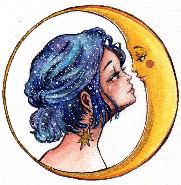 """Moon Lover"" 2017 gouache painting by Olivia Au @Olivia Au Illustration #moon #art #galaxy #hair #love"