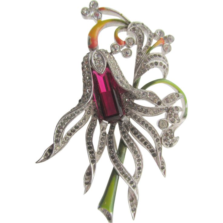 Vintage Pennino Red Rhinestone and Enamel Floral Brooch