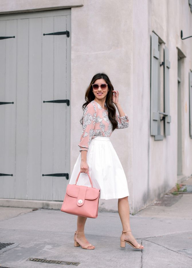 affordable work outfit ideas // pink print blouse + white A line skirt