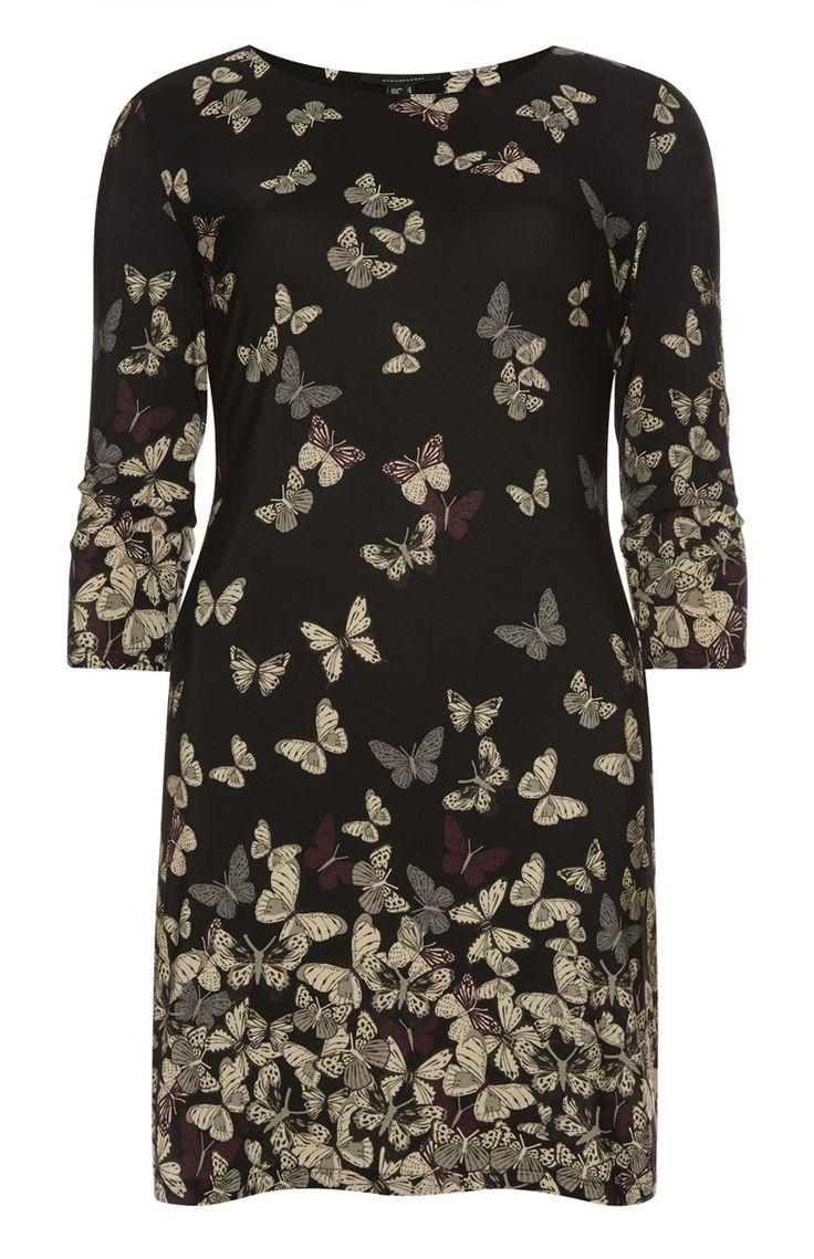 Primark - Schwarze Tunika mit Schmetterlingsmuster