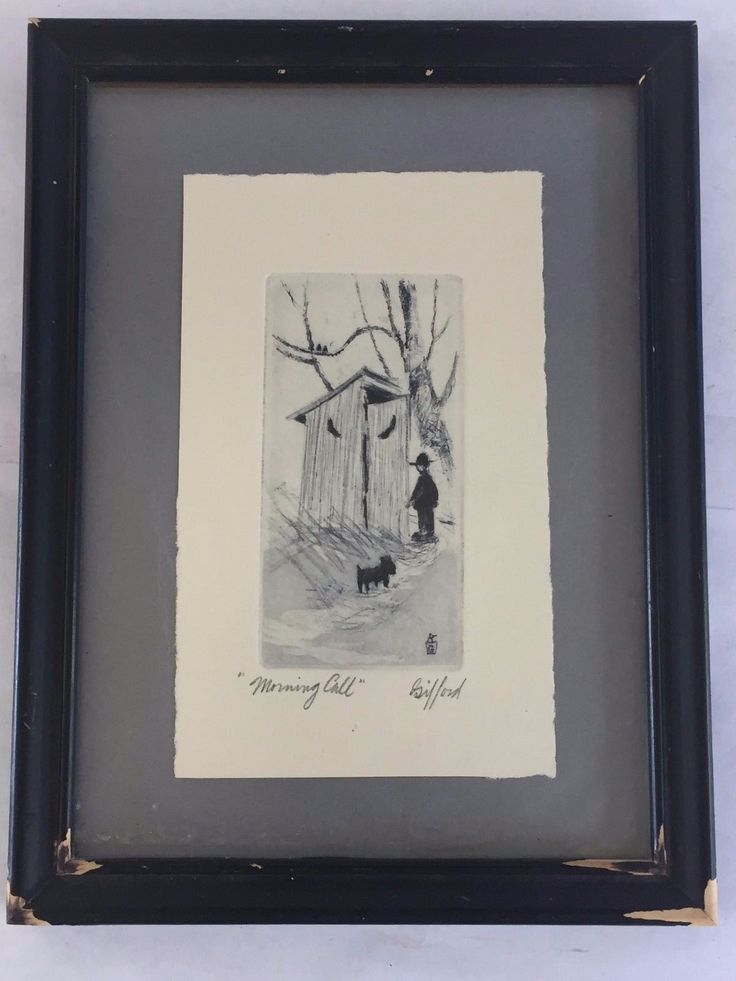 """Up for sale is a Vintage Amish Etching by Ed Gifford 'Morning Call'. This is approx. 6.5"""" wide by 8.5"""" long. It is in good condition with some paint w... #etching #signed #framed #gifford #outhouse #amish #morning #call #vintage"""