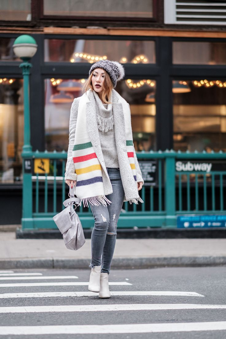 Types of Scarves - Colorful Striped Scarf // Notjessfashion.com // New York fashion blogger, asian blogger, fashion blogger street style, street style fashion, new york street style, winter outfit, cozy winter outfit, layered outfit, winter layers, senso boots, gray denim, distressed denim, gray denim outfit, free people sweater, cute winter style, gray marled pom pom beanie