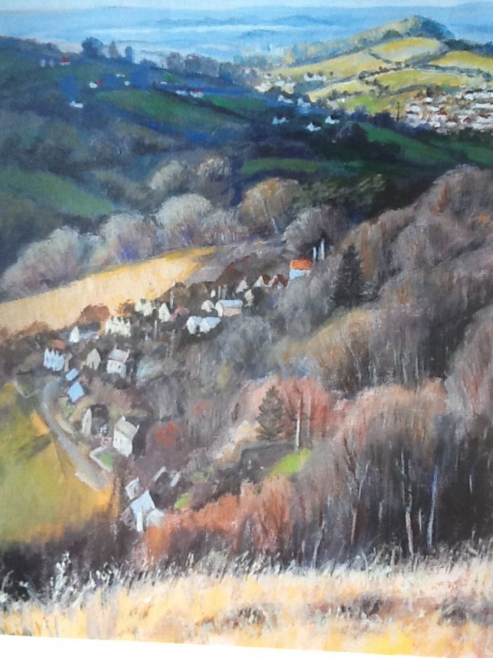 View from Rodborough common - detail by Cyril Corio. Acrylic and mixed media