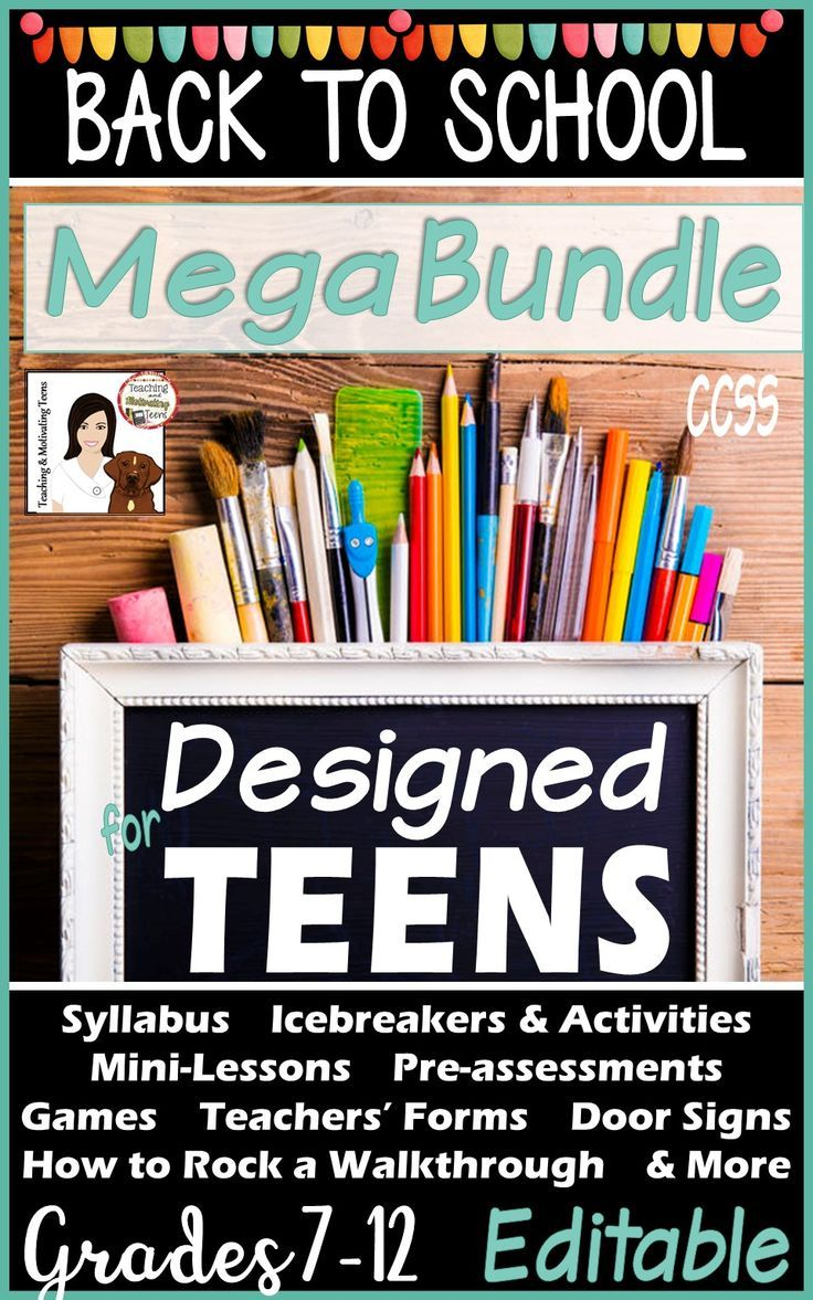 This bundle is designed specifically for teen learning and contains back-to-school (and some extending yearlong) products including: 1. Icebreakers and Activities for Students 2. Teachers Forms and Resources (including syllabus and first newsletter template) 3. Resources for Students 4. Door Signs 5. Pre-Assessments 6. How to Rock a Walkthrough Observation. Buy the bundle and save over 15% on these great resources.
