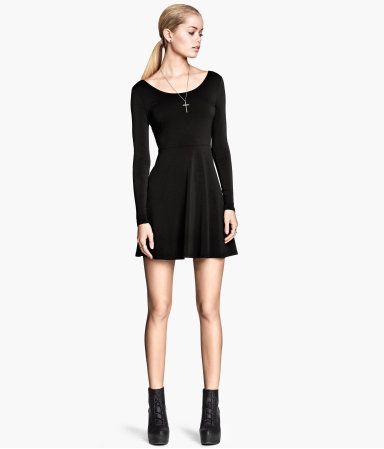 U neck long sleeve dress 30s