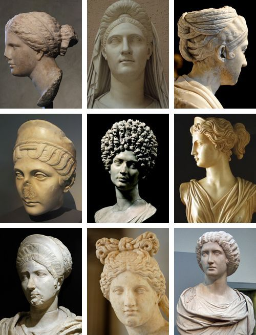 Hairstyles of ancient Roman women on roman marble statues.
