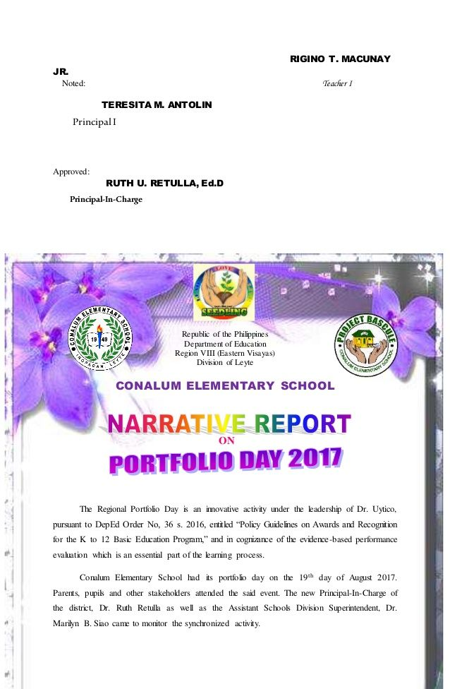 Portfolio Day Acr Activity Completion Report And Narrative Report Elementary Schools Parent Teacher Meeting Portfolio