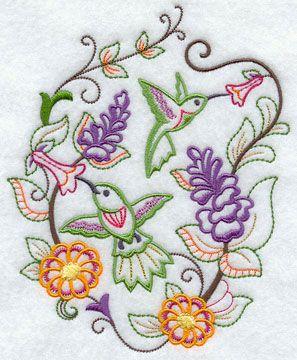 Colibríes y flores en un bordado a máquina diseño perfecto para la primavera!
