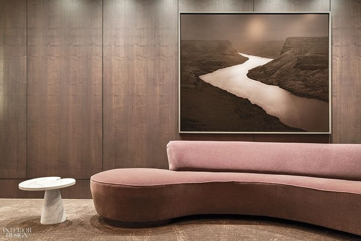 Ten Thousand's Apartment in LA by Shamir Shah Design   In another elevator vestibule, a Vladimir Kagan sofa and an Angelo Mangiarotti table meet a photograph by Adam Katseff. Photography by Manolo Yllera