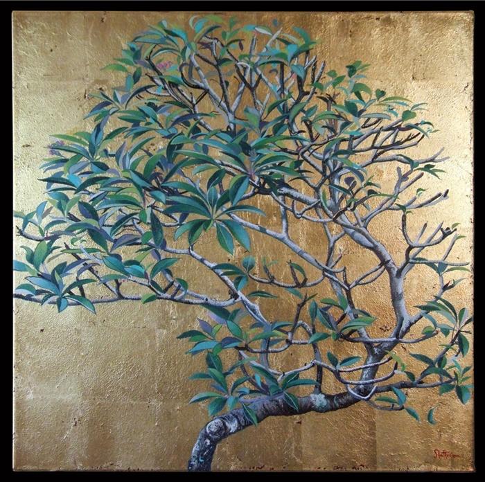 Alexander Slatter - Frangipani on gold leaf. Webbs Fine Art