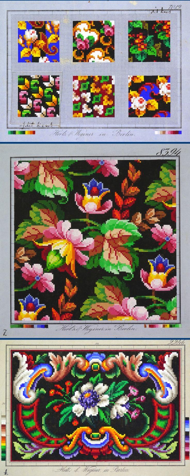 3 Berlin WoolWork Charts Produced By Hertz & Wegener Berlin ~ Dutch Eve On Textiles