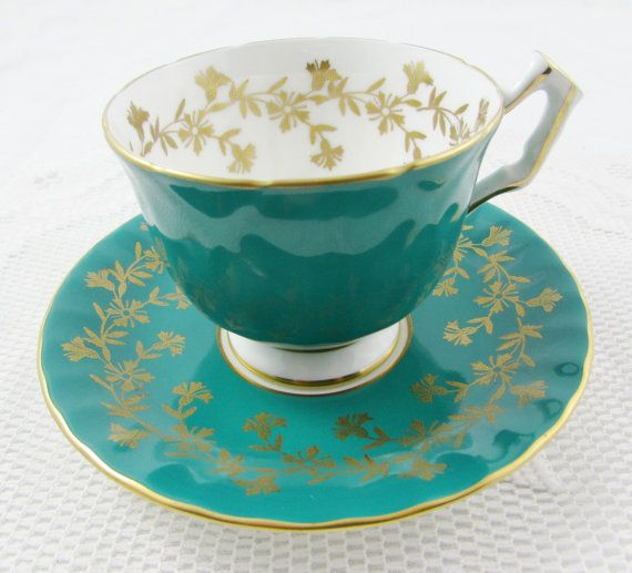 Aynsley Teal Tea Cup and Saucer with Gold Filigree, Blue Green, Antique Tea Cup…