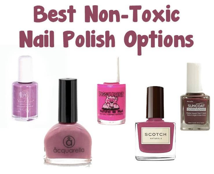 These non-toxic nail polish choices are water-based, natural, free of chemicals toulene and formaldehyde and rated safe by the Environmental Working Group.