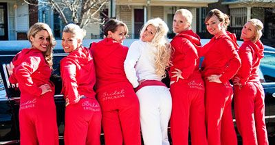 """Bridal entourage"" sweatpants and ""Bride"" sweatpants! Cute idea for matching outfits for getting ready on wedding day or could be put on shirts for bachelorette parties. #wedding #bridal"