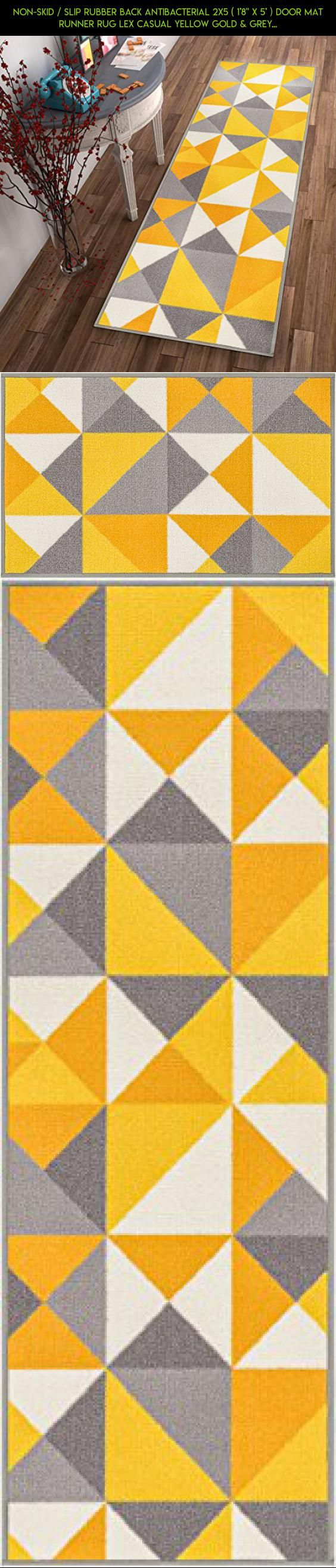 "Non-Skid / Slip Rubber Back Antibacterial 2x5 ( 1'8"" x 5' ) Door Mat Runner Rug Lex Casual Yellow Gold & Grey Geometric Modern Thin Low Pile Machine Washable Indoor Outdoor Kitchen Hallway Entry #decor #parts #products #racing #drone #camera #yellow #plans #fpv #outdoor #gadgets #shopping #tech #technology #kit"