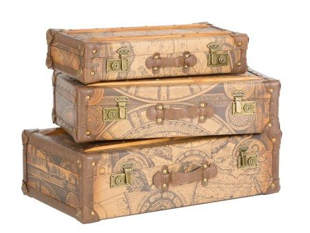 Set Of Vintage Leather Suitcases | Old Fashioned Leather Luggage Display  Set | Ornamental Antique Suitcase