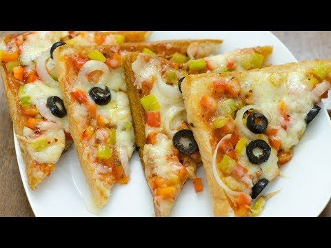 No-Bake Bread Pizza Recipe in Pan or Tawa    Without Oven & Eggless - YouTube