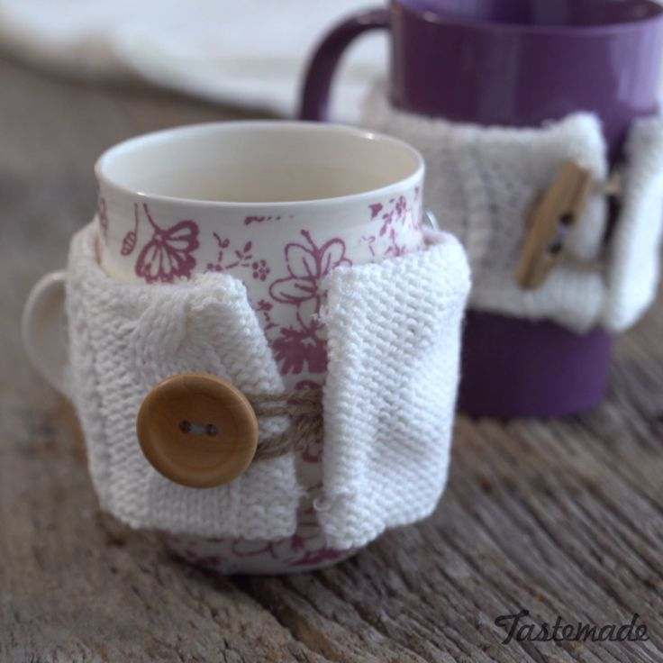 Give your old sweater a second life as an adorable, easy-to-make mug warmer.