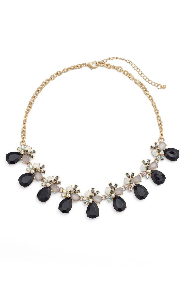 Slate & Willow Accessories Crystal and Black Statement Necklace