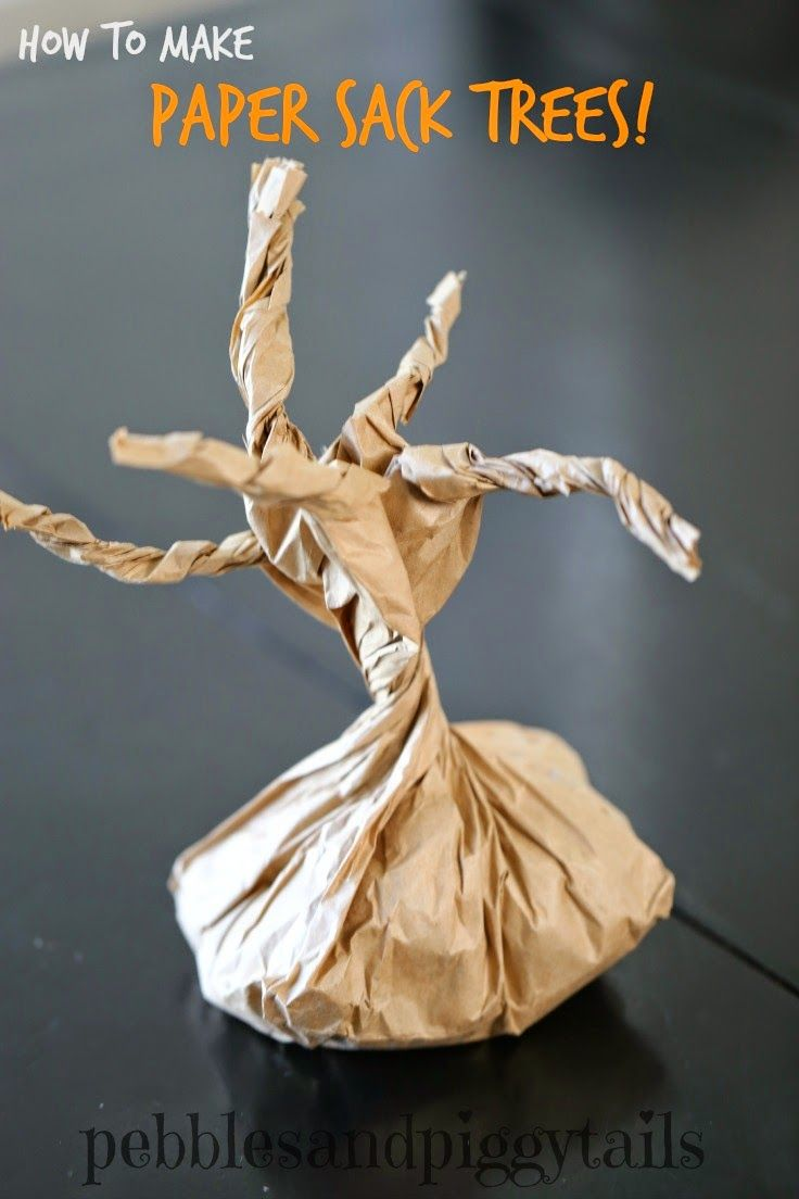 How to make Paper Sack Tree Craft for Kids.  Great for a spooky Halloween scene at home.