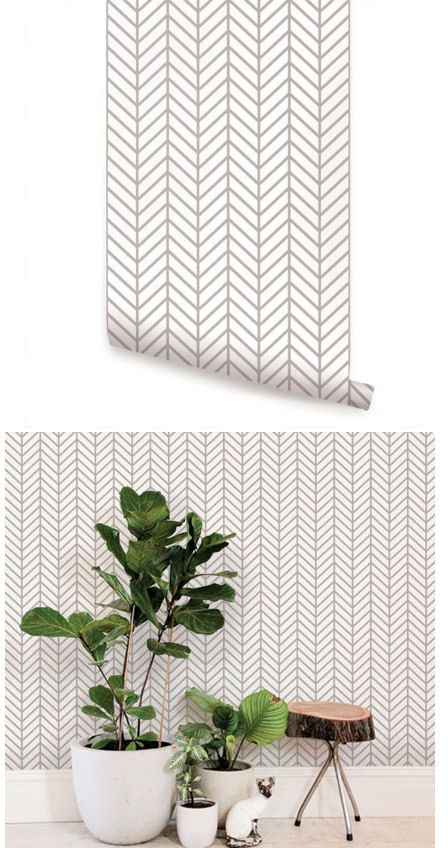 Herringbone Line Gray Peel and Stick Wallpaper  - Wall Sticker Outlet
