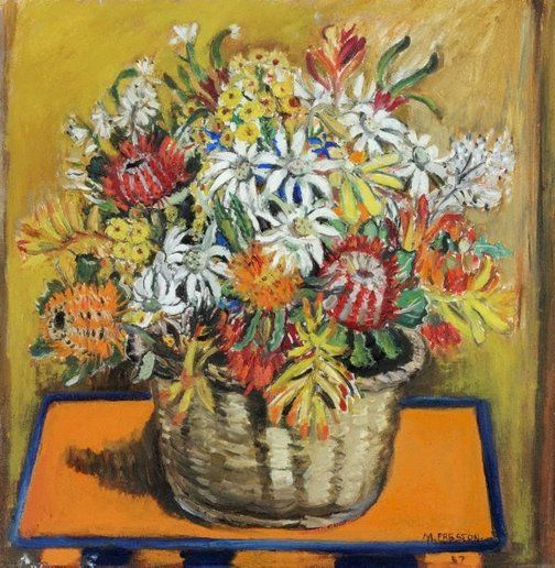 "Margaret Preston   Australia, England, France  b.29 April 1875  d. 28 May 1963  (Still life with national flowers) 1957 oil on canvas  50 x 50cm Signed  and dated l.r. corner, black oil ""M.PRESTON/57"". Art Gallery of NSW Collection 