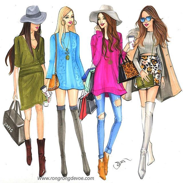Fashionistas fashion illustration inspired by street style fashion by Houston…