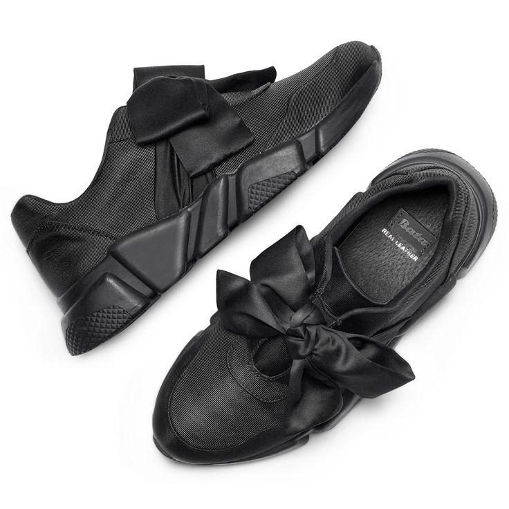 Sneakers nere con lacci in satin bata, nero, 549-6202 - 26