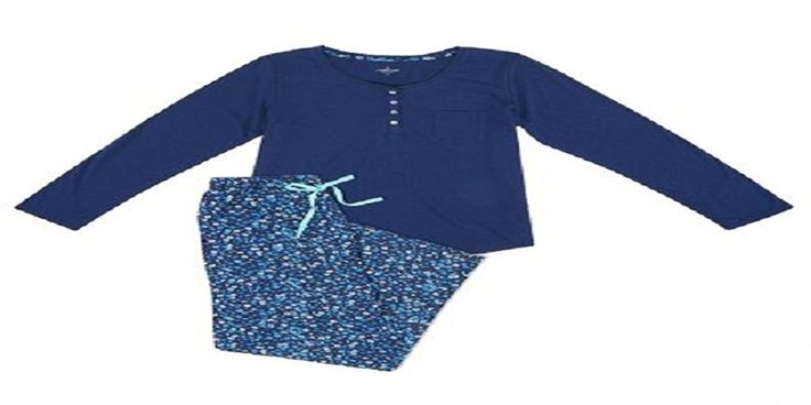 Cuddl Duds Women's 2-Piece Long Sleeve & Pant Sleepwear Set, Navy/PRT