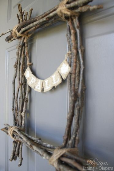 twig decor instead of a wreath- love the twig square! Gotta do this!